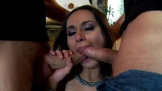 Sleazy brunette Kristall Rush sucks off two throbbing dicks