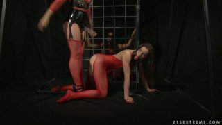 Anal drilling in BDSM way with well stacked blonde lesbie Ashley
