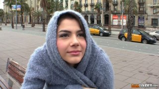 Cute brunette Valentina Nappi is playful and horny outside