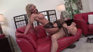 Busty blonde milf Phoenix Marie fucks young dude on her bed