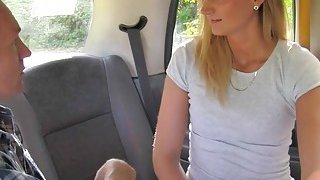 Blonde cab driver bangs in different positions