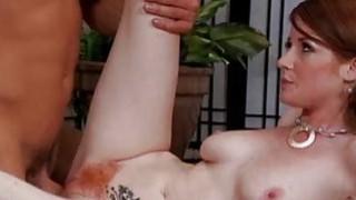 Redhead milf sits her pussy on big cock on spycam