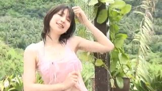 Slender teen chick Kaori Ishii walks around in her bikini outfit