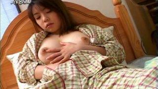 Amateur brunette Japanese teen Nozomi Momoi pleasing herself after shower